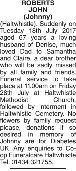 Obituary notice for ROBERTS JOHN