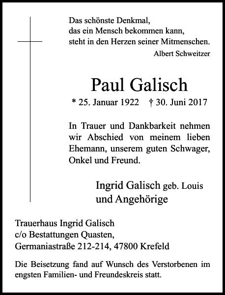 Paul Galisch : Traueranzeige