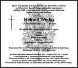 Helmut Wedig : Traueranzeige