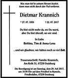 Dietmar Krannich : Traueranzeige