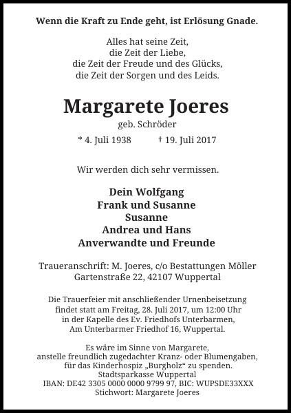 Margarete Joeres : Traueranzeige