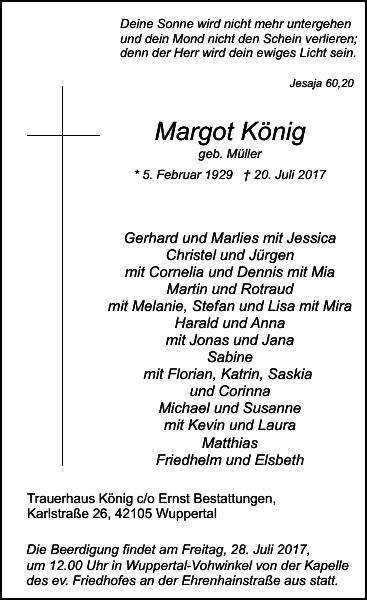 Margot König : Traueranzeige