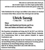 Ulrich Sannig : Traueranzeige