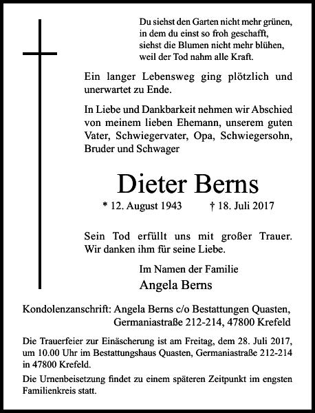 Dieter Berns : Traueranzeige