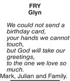 Birthday memorial notice for FRY Glyn