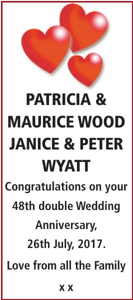 Anniversary notice for PATRICIA