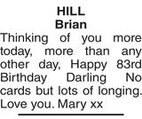 Birthday memorial notice for Brian