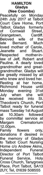 Obituary notice for HAMILTON Gladys