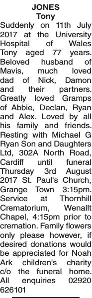 Obituary notice for JONES Tony