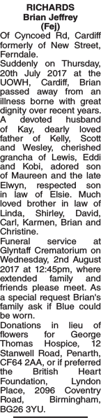 Obituary notice for RICHARDS Brian