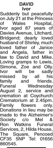 Obituary notice for DAVID Ivor