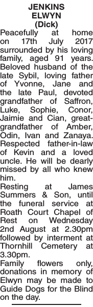 Obituary notice for JENKINS ELWYN