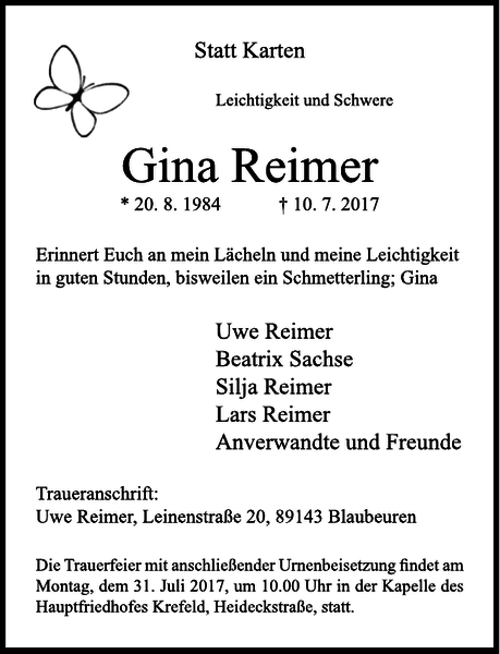 Anzeige für Gina Reimer