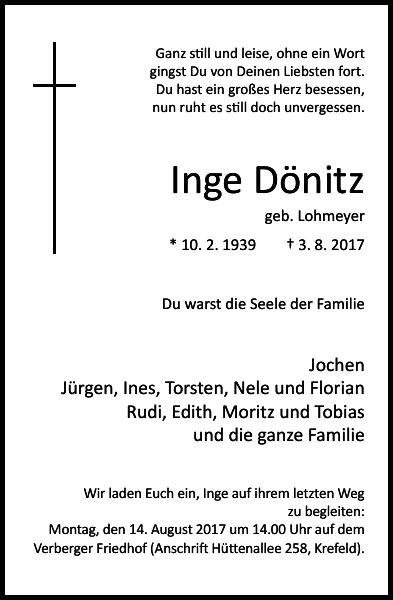 Inge Dönitz : Traueranzeige