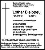 Lothar Bleibtreu : Traueranzeige