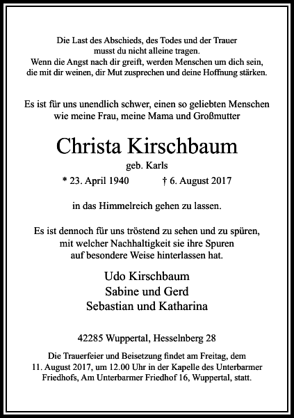 Christa Kirschbaum : Traueranzeige