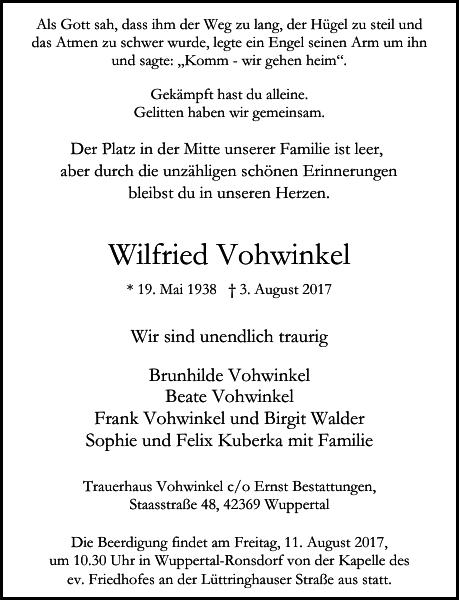 Wilfried Vohwinkel : Traueranzeige