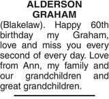 ALDERSON GRAHAM : Birthday memorial