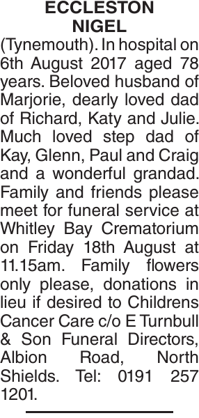 ECCLESTON NIGEL : Obituary
