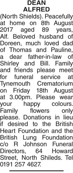DEAN ALFRED : Obituary