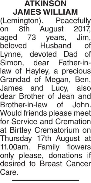 ATKINSON JAMES : Obituary