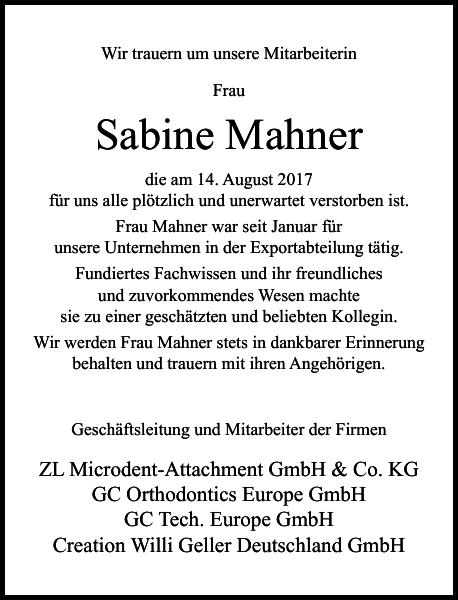 Sabine Mahner : Nachruf