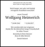 Wolfgang Heimerich : Traueranzeige