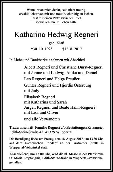Katharina Hedwig Regneri : Traueranzeige