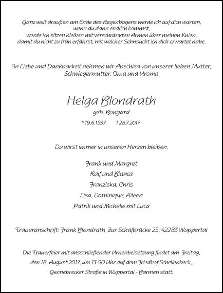 Helga Blondrath : Traueranzeige