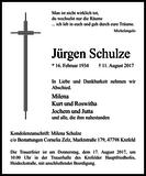 Jürgen Schulze : Traueranzeige