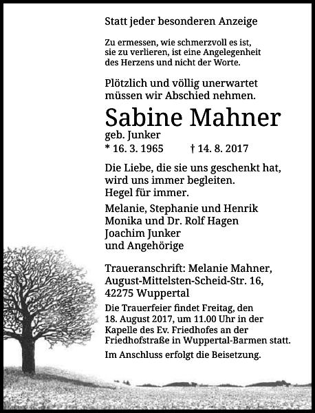 Sabine Mahner : Traueranzeige