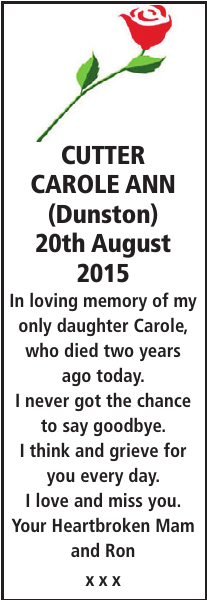 CUTTER CAROLE : Memorial