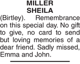 MILLER SHEILA : Birthday memorial
