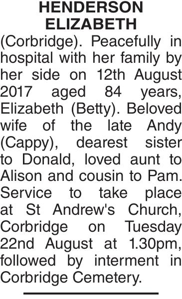 HENDERSON ELIZABETH : Obituary