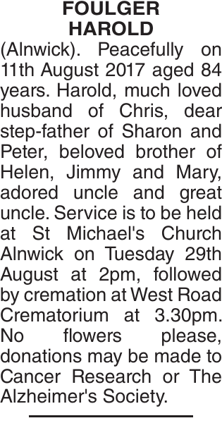 FOULGER HAROLD : Obituary