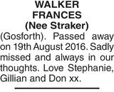 WALKER FRANCES : Memorial