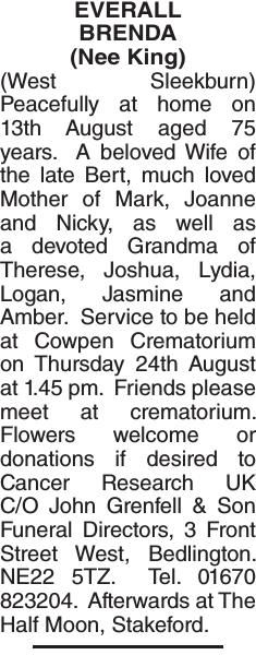 EVERALL BRENDA : Obituary