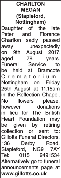 CHARLTON MEGAN : Obituary