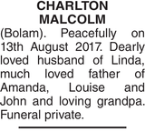 CHARLTON MALCOLM : Obituary