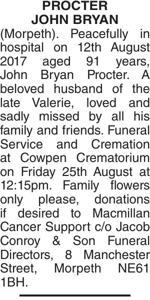 PROCTER JOHN : Obituary
