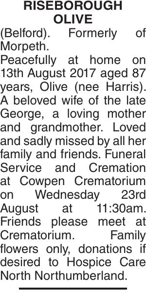 RISEBOROUGH OLIVE : Obituary