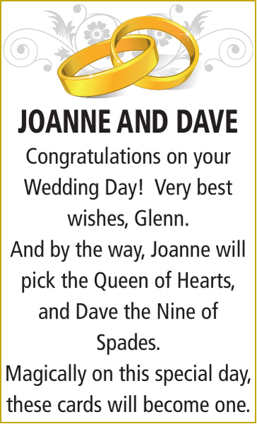 Wedding notice for JOANNE