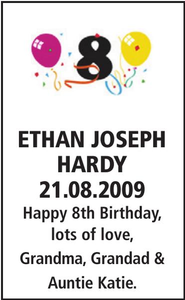 Birthday notice for ETHAN JOSEPH