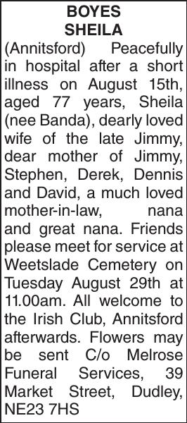 Obituary notice for BOYES SHEILA
