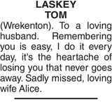 Memorial notice for LASKEY TOM