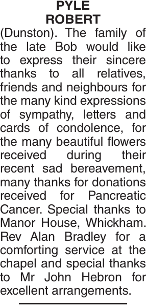 Acknowledgement notice for PYLE ROBERT