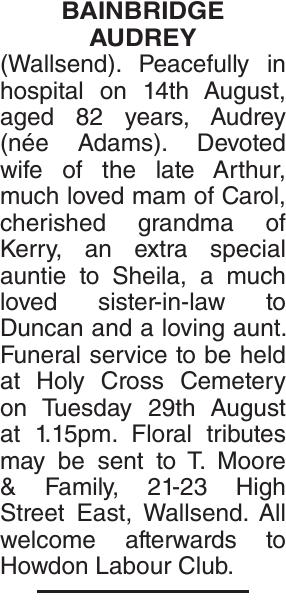 Obituary notice for BAINBRIDGE