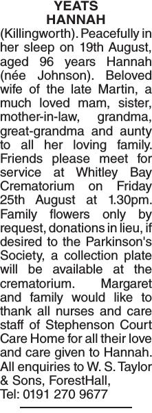 Obituary notice for YEATS HANNAH