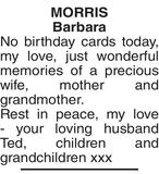 MORRIS Barbara : Birthday memorial