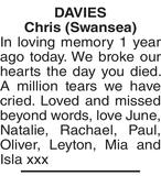 DAVIES Chris : Memorial